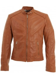Mens Quilted Tan Brown Leather Biker Jacket