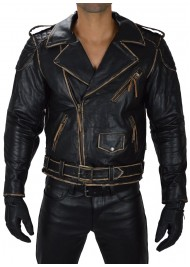 Men's Classic Biker Real Cowhide Leather Jacket
