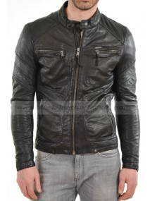 Men's Real Lambskin Black Leather Biker Style Four Pocket Jacket