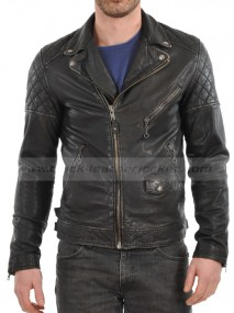 Mens' Real Lambskin Black Leather Biker Jacket