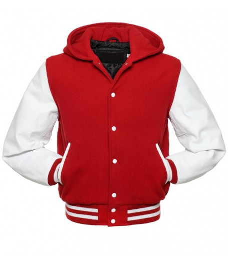 Men's Red and White Letterman Hoodie