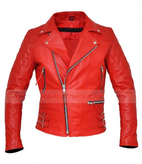 Brando Style Classic Mens Red Leather Motorcycle Jacket