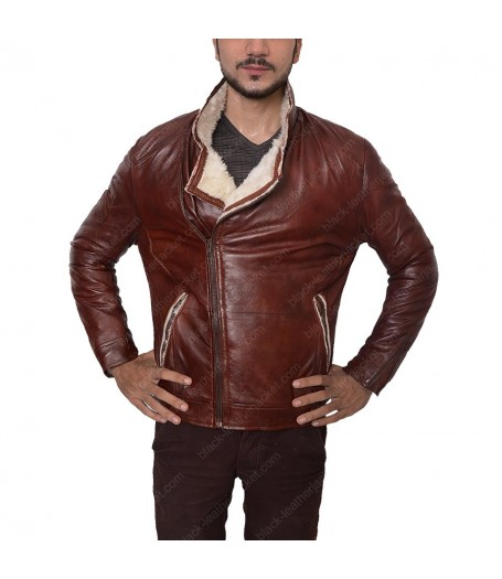 Mens Red Leather Waxed Motorcycle Jacket