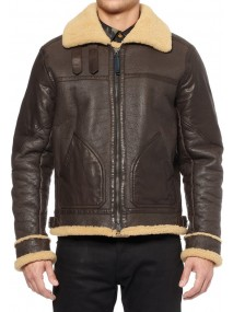 Men's Shearling B3 Brown Leather Bomber Jacket