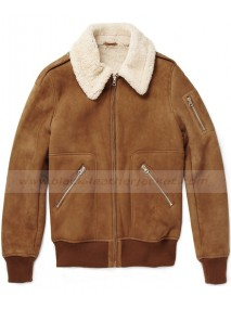 Men's Shearling Lambskin Brown Leather Jacket With Fur Collar