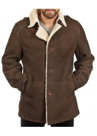 100% Sheepskin Leather Men's Shearling Brown Coat
