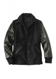 Men's Shirt Style Black Varsity Jacket