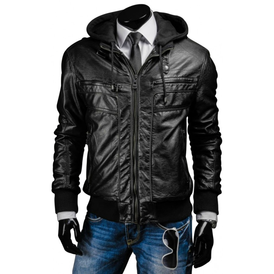 Black Leather Jacket with Hood | Men's Slim Fit Jacket with Hoodie