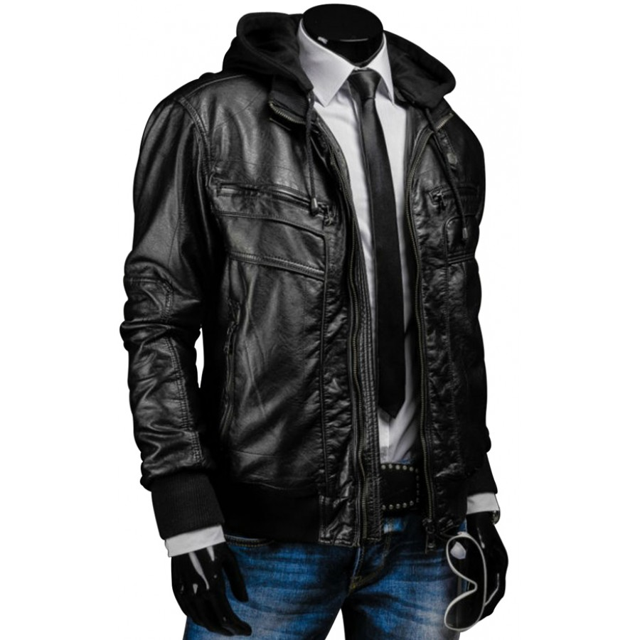 Black Leather Jacket With Hoodie - Coat Nj
