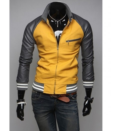Mens Slim Fit Casual Sports Mustard Yellow Jacket