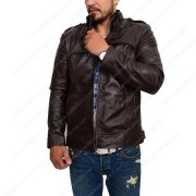 Mens Slim Fit Dark Brown Leather Jacket