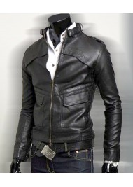 Mens Slim Fit Black Faux Leather Biker Jacket