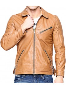Men's Slim Fit Light Brown Leather Biker Jacket