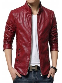 Men's Slim Fit Red Faux Leather Jacket