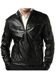 New Fashion Men's Slim Fit Style Black Leather Jacket