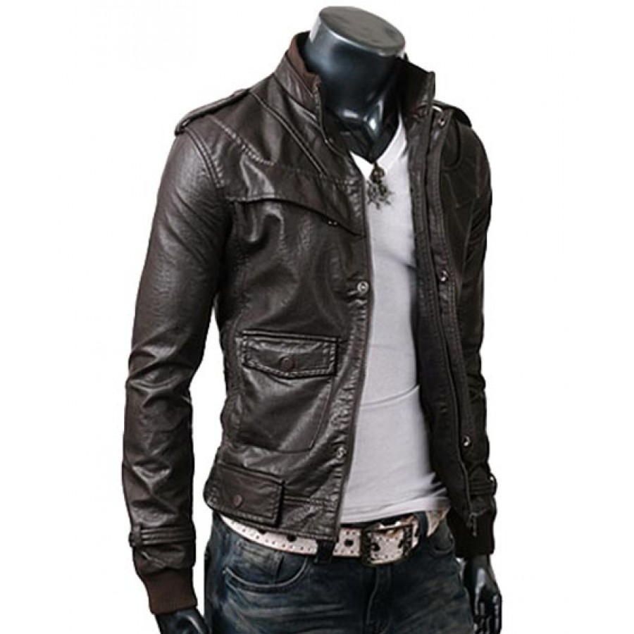 Slim Fitted Mens Dark Brown Leather Jacket