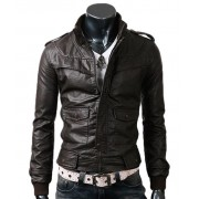 Mens Slim Fitted Dark Brown Leather Jacket
