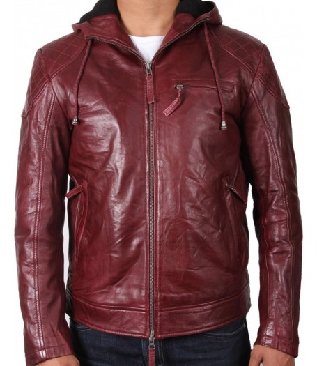 Men's Stylish Look Burgundy Leather Hooded Jacket