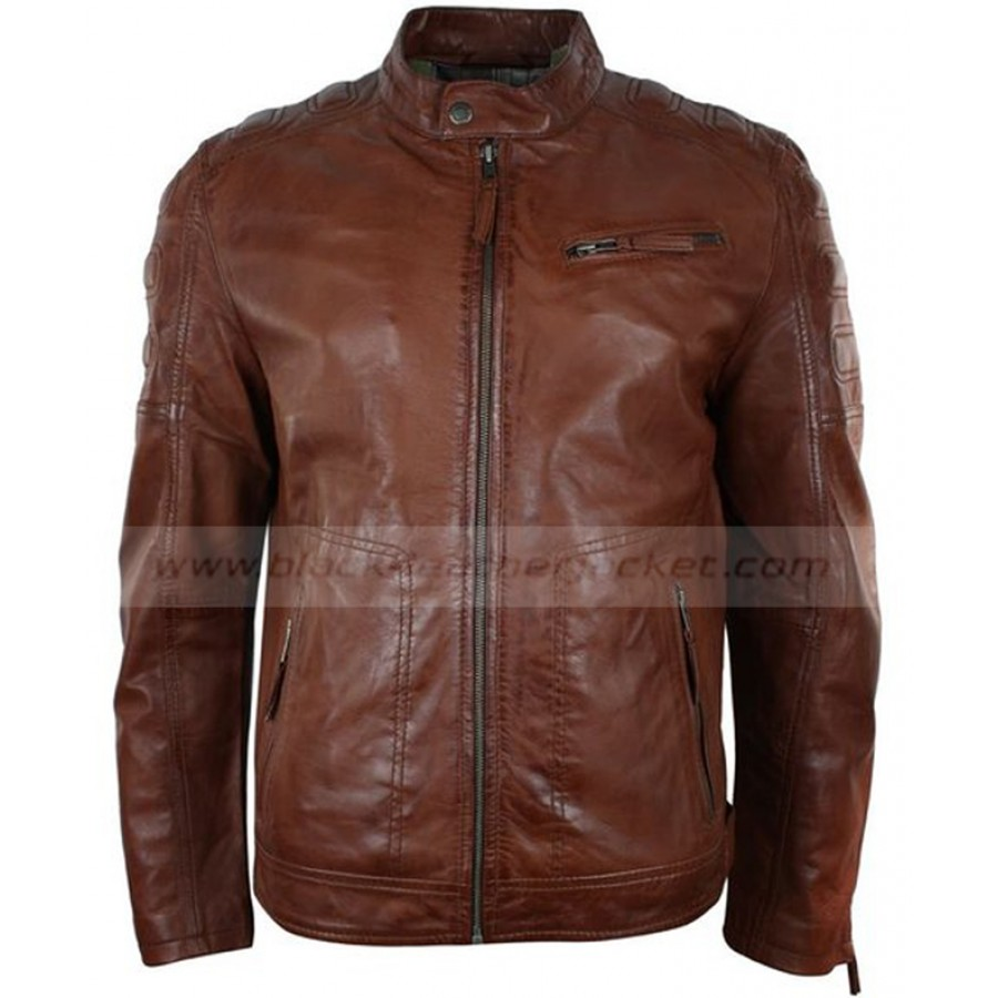 41ab61dcf Mens Tailored Fitted Brown Leather Biker Jacket