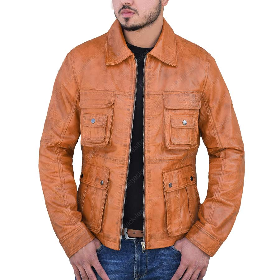 Tan Brown Bomber Leather Jacket