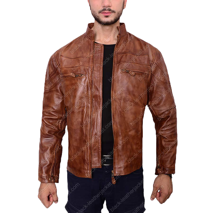 Cafe Racer Brown Leather Jacket | Mens Vintage Biker Jacket