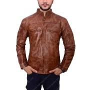 Mens Vintage Biker Brown Cafe Racer Leather Jacket