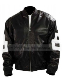 Mens White 8 Ball Leather Bomber Jacket