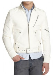 Men's Belted New Stylish White Leather Moto Jacket