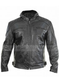 Xelement Mens Leather Motorcycle Jacket Hoodie
