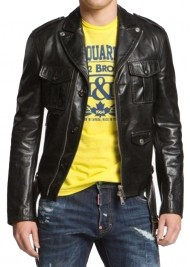 Men's Zipper and Button Closure Leather Jacket