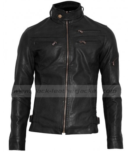 Mens Zipper Style Rider Slim Fit Black Faux Leather Jacket