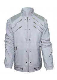 Michael Jackson Beat It White Zipper Leather Jacket