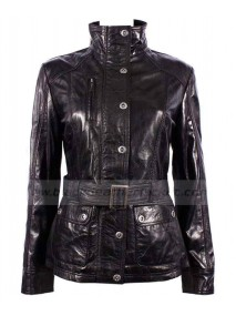 Military Collar Slim Fit Soft Black Leather Jacket Women