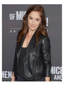 Minka Kelly Black Leather Jacket