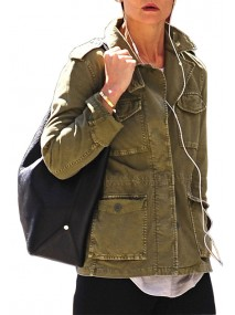 Katie Holmes Movie Miss Meadows Olive Green Jacket
