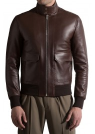 Men's Modern Bomber Style Brown Leather Jacket