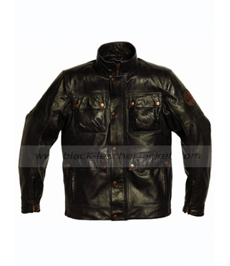 Motorbike Black Triumph Leather Jacket