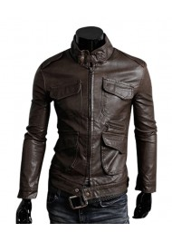 Motorcycle Style Slim Fit Dark Brown Leather Jacket