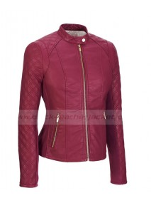 Womens Pink Leather Motorcycle Jacket