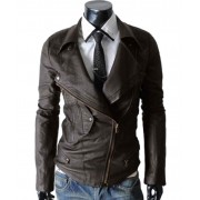Multi Pocket Brown Biker Slim Fit Leather Jacket