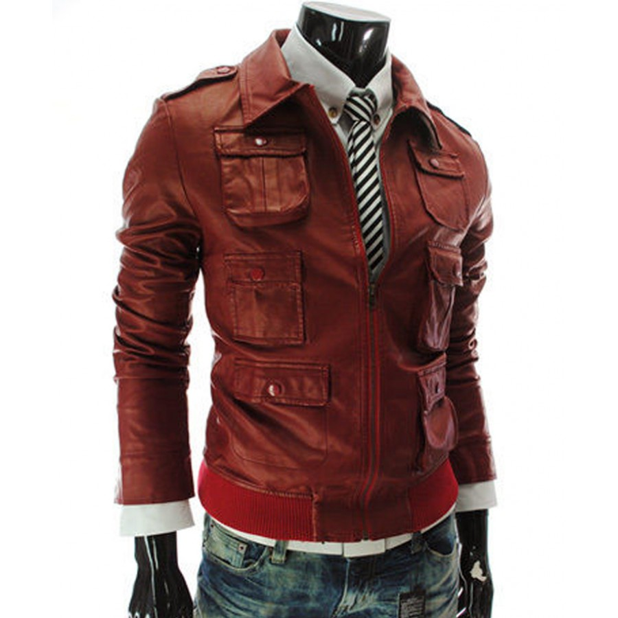 3356066bbaa76 Multi Pocket Style Mens Casual Slim Fit Red Faux Leather Jacket