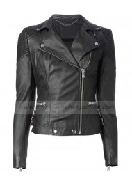 Muubaa Ladies Black Leather Biker Jacket