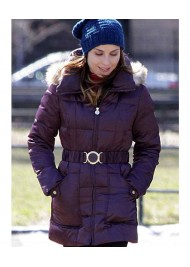 Nadia The Drop Noomi Rapace Womens Purple Puffer Jacket