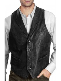 New Design Men's Vintage Black Leather Vest
