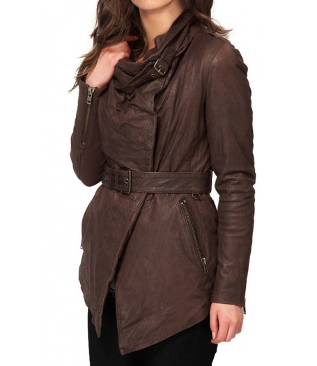 Women's New Design Brown Leather Belted Jacket