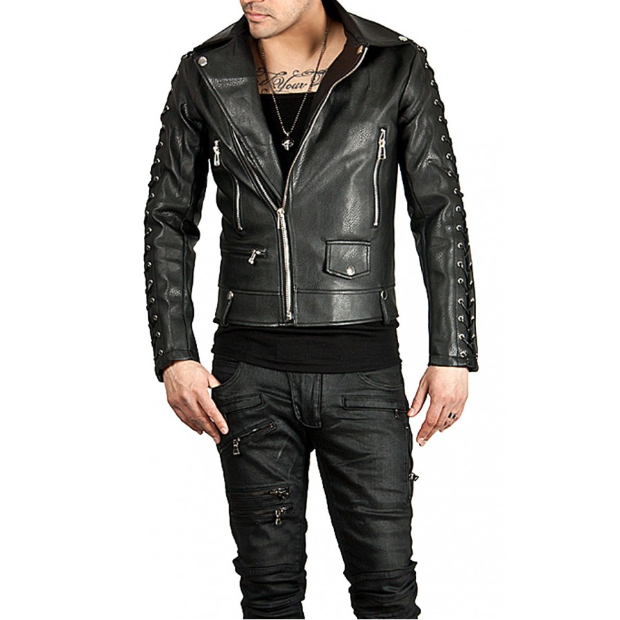 Designer New Style Black Leather Biker Jacket