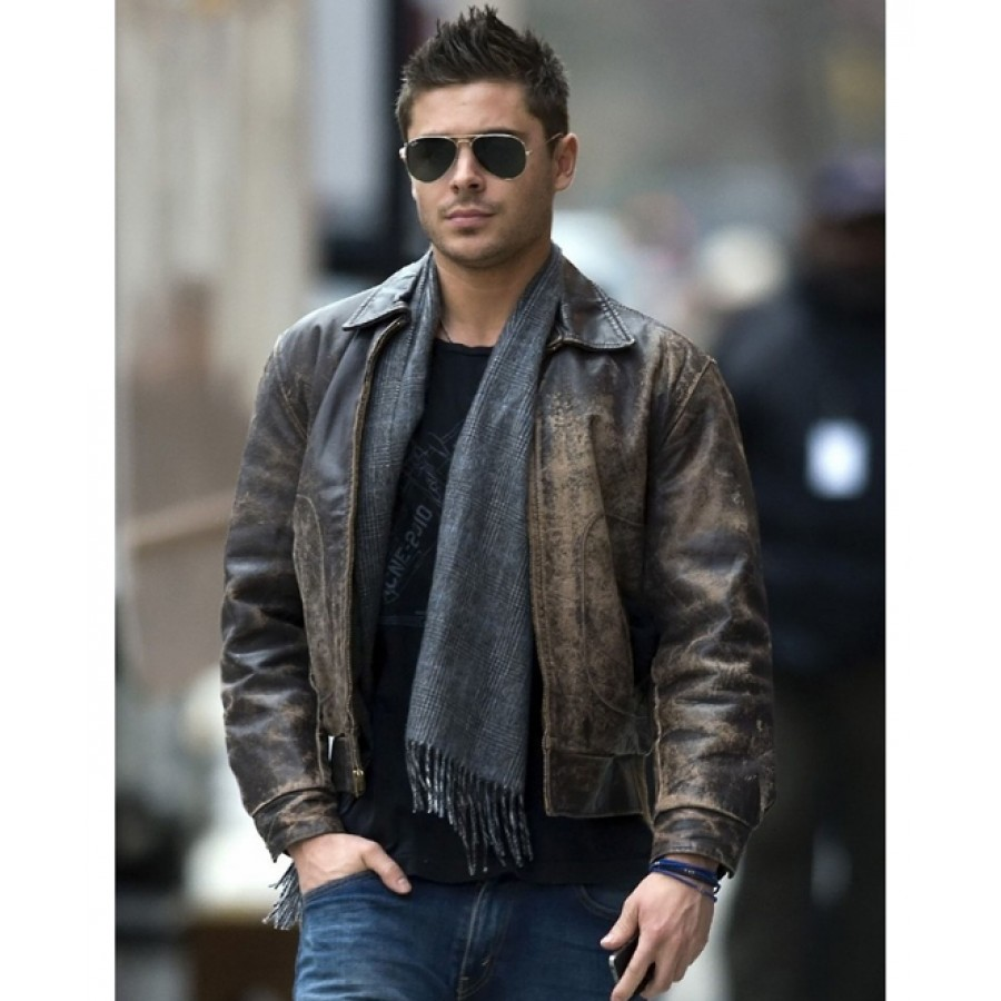Zac Efron Leather Jacket | Distressed Brown Leather Jacket