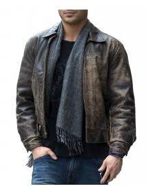 New Year's Eve Zac Efron Distressed Brown Leather Jacket