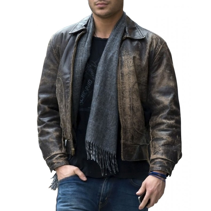 Zac Efron Leather Jacket Distressed Brown Leather Jacket