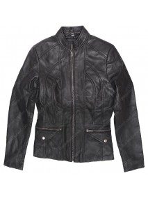 New Zealand Women's Lambskin Black Leather Scuba Jacket